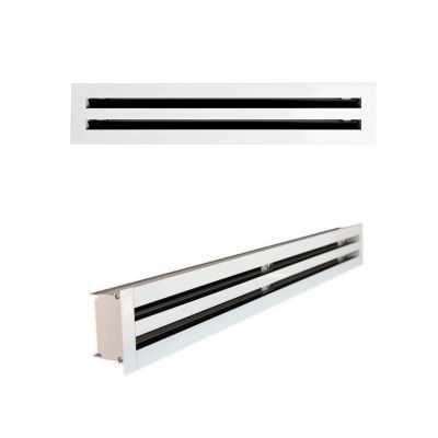 Grille linéaire à double fentes + plénum isolé